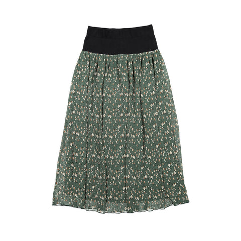 A4 Green Floral Waisted Skirt