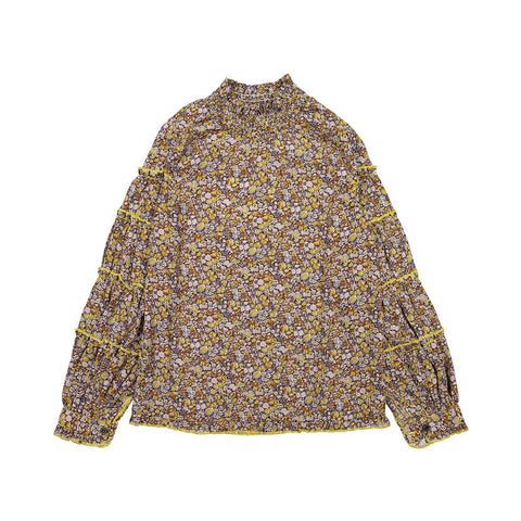 A4 Yellow Floral Tiered High Neck Blouse