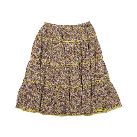 A4 Yellow Floral Tiered Skirt
