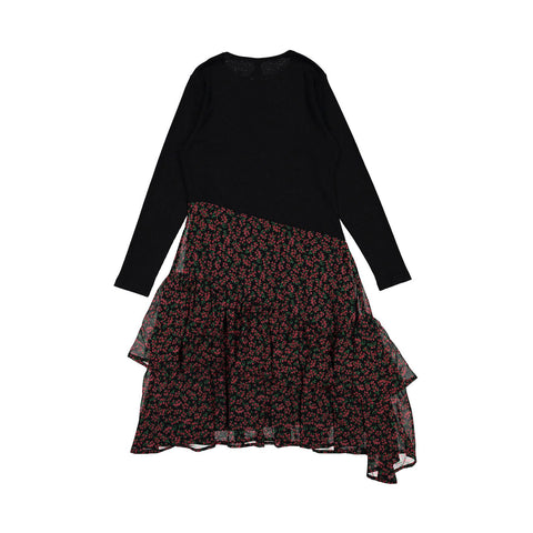 Ava and Lu Black + Red Floral Asymetrical Dress
