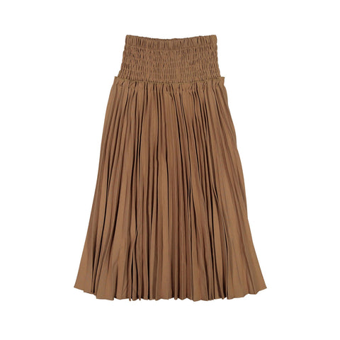 Ava and Lu Camel Pleated Smock Waist Skirt