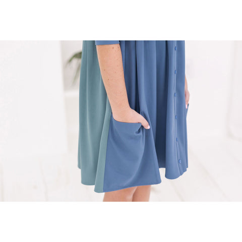 Ava and Lu Blue/Green Pocket Dress