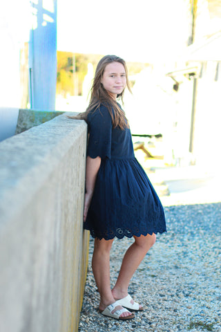 Ava & Lu The Anchor Navy Eyelet Dress