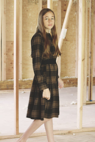 Ava and Lu Black Plaid Skirt