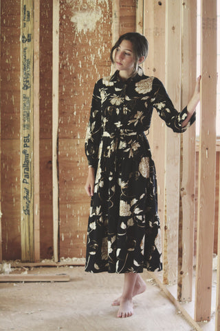 A4 Black Floral Tiered Shirt Dress