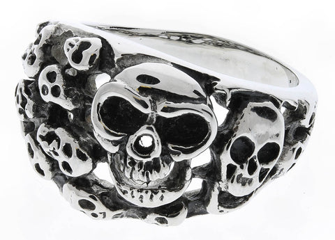 Stainless Steel Multi Skull Ring