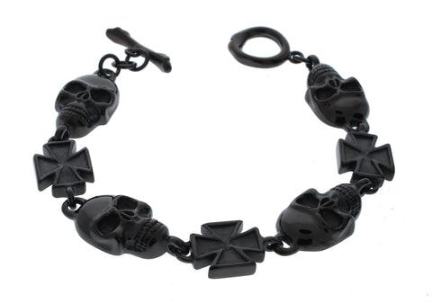 Black Skull and Cross Bracelet - 8.5 inch
