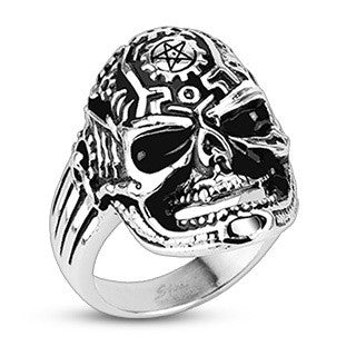 Stainless Steel Pentagram Clockworks Skull Ring