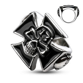 Stainless Steel Lucky 13 Skull Iron Cross Ring