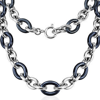 Stainless Steel Ceramic Link Chain Necklace - 23 inch