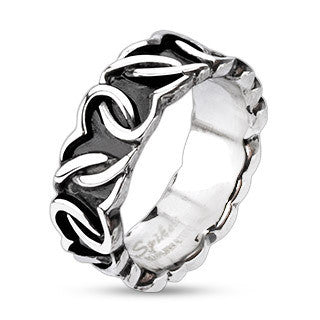 Stainless Steel Continuous Heart Link Knot Cast Ring