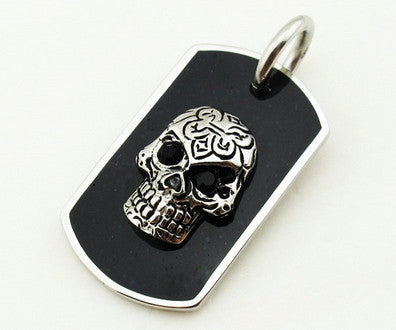 Stainless Steel Black Skull Pendant