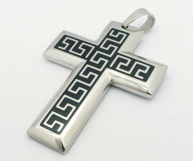 Stainless Steel Maze Cross Pendant