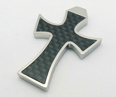 Stainless Steel Carbon Fiber Cross Pendant