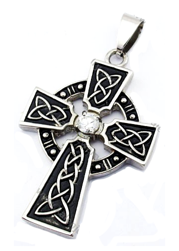 Stainless Steel Zircon Stone Cross Pendant