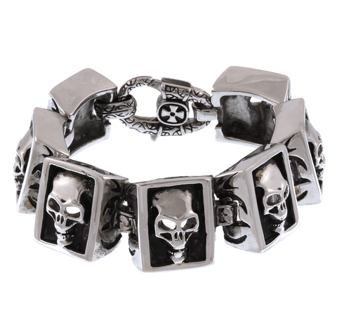 Stainless Steel Boxed Skull Bracelet - 7 inches