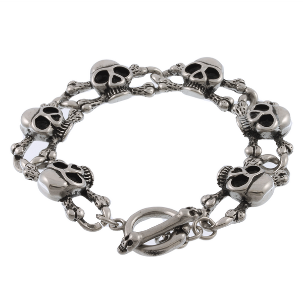 Stainless Steel Skull and Bones Bracelet - 7 inches