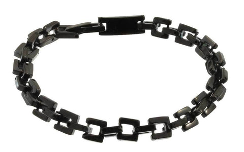Stainless Steel Black Square Chain Bracelet  - 8.5 inches