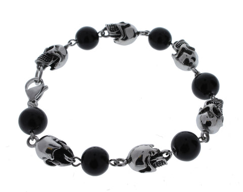 Stainless Steel Skull and Black Beads Bracelet - 8 inches