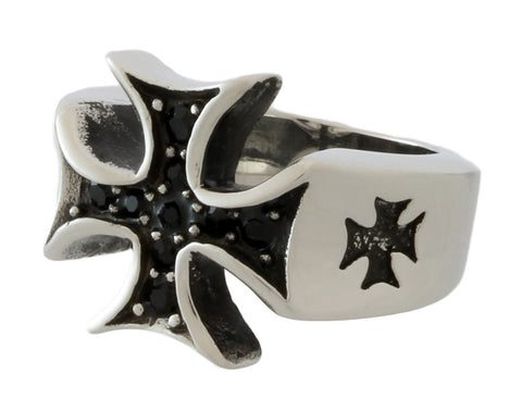 Stainless Steel Black Stones Iron Cross Ring