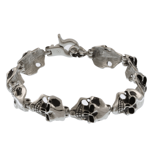 Stainless Steel Cheekbone Skull Bracelet - 7.5 inches