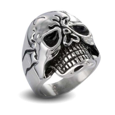 Stainless Steel Cracked Skull Ring
