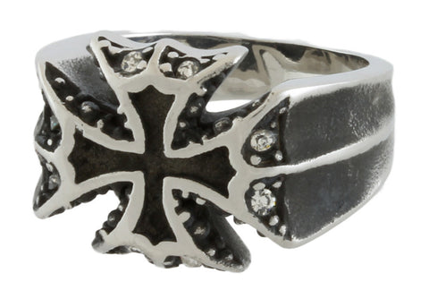 Stainless Steel Crystal Iron Cross Ring
