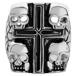 Stainless Steel Death Skulls Cross Ring