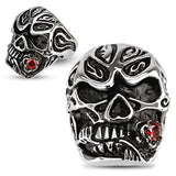 Stainless Steel Red Rose CZ Skull Ring