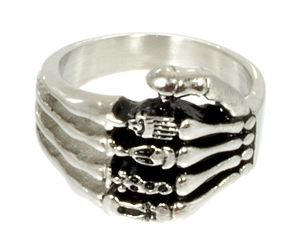 Stainless Steel Skeleton Hand Ring