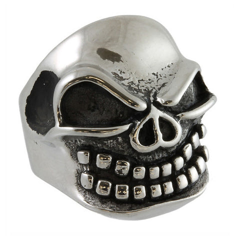 Stainless Steel Bared Teeth Skull Ring