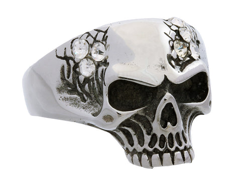 Stainless Steel Stones Skull Ring