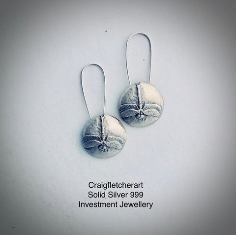Solid Silver (999) Damselfly Earrings by Craig Fletcher