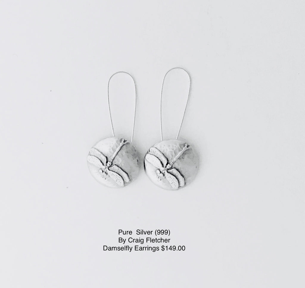 Pure Silver Damselfly Earrings