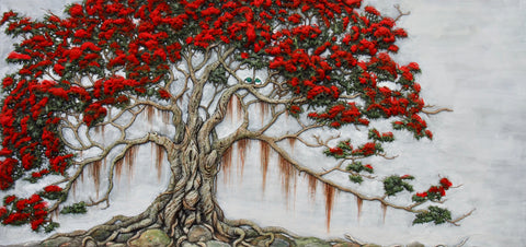 Kereru Christmas in a pohutukawa tree print by Craig Fletcher