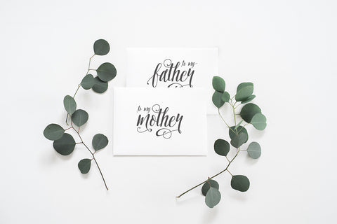 2 Pack - To My Mother Card, To My Father Card - 001 - Day of Wedding Cards