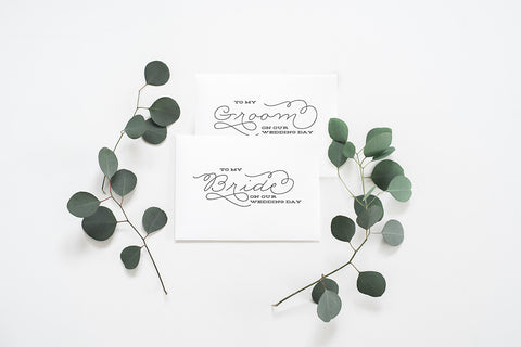 2 Pack - To My Bride Card, To My Groom Card - 004 - Day of Wedding Cards