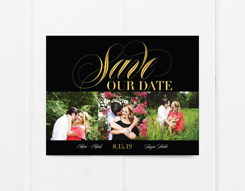 Black and Gold Save The Date Magnet
