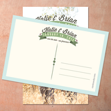 back of the save the date card featuring curved banner and script typography