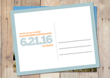 back side of save the date card that features bold typography and simplistic design