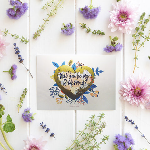 Scratch Off Will You Be My Bridesmaid Card - Floral Heart