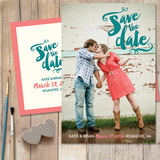 customized save the date card with brush painted style typography and one photo