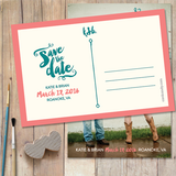 save the date card with brush painted style typography and one photo