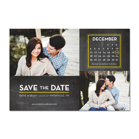 Calendar Double Photo Save The Date Magnet
