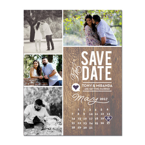 Calendar Rustic Save The Date Magnet