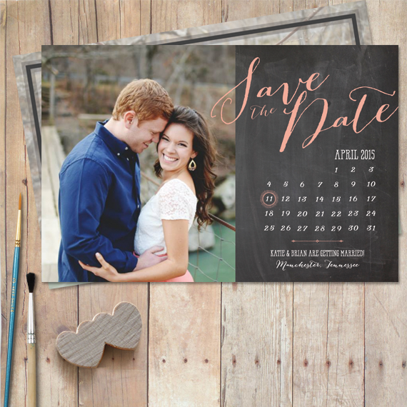 calendar save the date card featuring bombshell typography and one photo