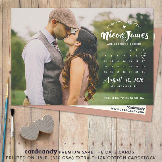 calendar save the date postcard with bold stylish typography