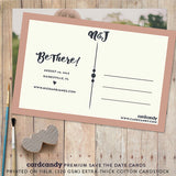 backside of calendar save the date postcard with bold stylish typography