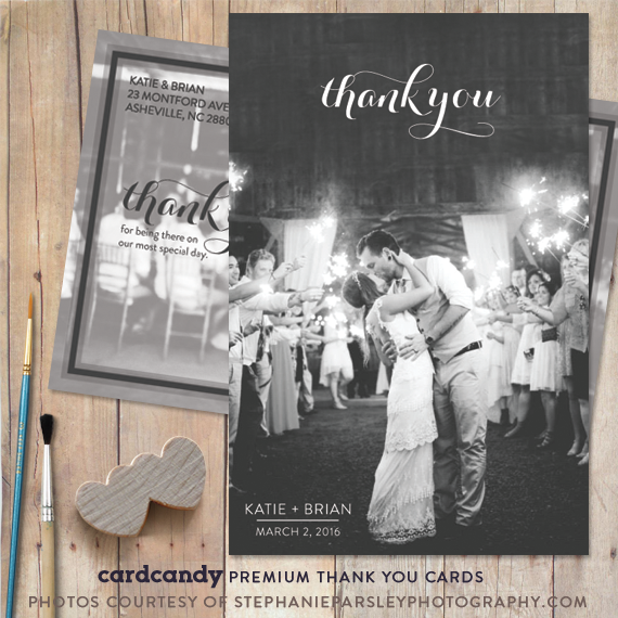 black and white thank you card featuring minimal script typography
