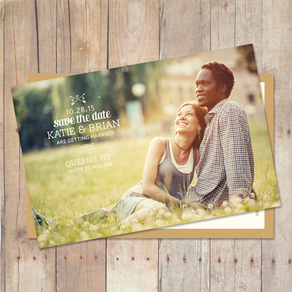 simple save the date postcard with vintage typography